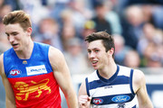 Jack Henry of the Cats celebrates a goal during the round 19 AFL match between the Geelong Cats and the Brisbane Lions at GMHBA Stadium on July 28, 2018 in Geelong, Australia.