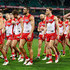 Josh Kennedy Photos - Josh Kennedy of the Swans and team mates look dejected after losing the round 23 AFL match between the Sydney Swans and the Hawthorn Hawks at Sydney Cricket Ground on August 25, 2018 in Sydney, Australia. - AFL Rd 23 - Sydney vs. Hawthorn