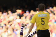 Barry Hall of the Bulldogs reacts with disbelief as a free kick is paid against him by umpire Brett Ritchie to Alex Silvagni of the Dockers during the round 24 AFL match between the Western Bulldogs and the Fremantle Dockers at Etihad Stadium on September 3, 2011 in Melbourne, Australia.