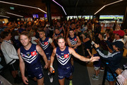 The Dockers walk thru the Locker Room after winning the round three AFL match between the Gold Coast Suns and the Fremantle Dockers at Optus Stadium on April 7, 2018 in Perth, Australia.