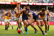 Stephen Hill of the Dockers contests for the ball during the Round 6 AFL match between the Fremantle Dockers and West Coast Eagles at Optus Stadium on April 29, 2018 in Perth, Australia.