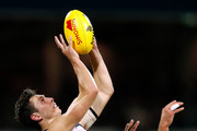 Jack Henry of the Cats marks the ball during the 2018 AFL round seven match between the Geelong Cats and the GWS Giants at GMHBA Stadium on May 4, 2018 in Geelong, Australia.
