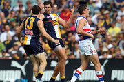 Josh Kennedy and Luke Shuey of the Eagles celebrate a goal during the round nine AFL match between the West Coast Eagles and the Western Bulldogs at Patersons Stadium on May 22, 2011 in Perth, Australia.