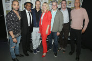 "(L-R) Michael Mando,  Giancarlo Esposito, Bob Odenkirk, Rhea Seehorn, Peter Gould, Vince Gilligan, and Patrick Fabian attend the ""Better Call Saul"" panel with AMC during Comic-Con International 2018 at San Diego Convention Center on July 19, 2018 in San Diego, California."