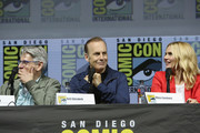 "(L-R) Peter Gould, Bob Odenkirk and Rhea Seehorn attend the ""Better Call Saul"" panel with AMC during Comic-Con International 2018 at San Diego Convention Center on July 19, 2018 in San Diego, California."