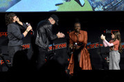 (L-R) Norman Reedus, Jeffrey Dean Morgan, Danai Gurira, and Cailey Fleming speak onstage during a panel for AMC's The Walking Dead Universe including AMC's flagship series and the untitled new third series within The Walking Dead franchise at Hulu Theater at Madison Square Garden on October 05, 2019 in New York City.