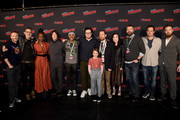 (L-R) Chris Hardwick, Jeffrey Dean Morgan, Danai Gurira, Norman Reedus, Seth Gilliam, Josh McDermitt, Cailey Fleming, Scott Gimple, Angela Kang, Robert Kirkman, Dave Alpert and Ross Marquand attend a panel for AMC's The Walking Dead Universe including AMC's flagship series and the untitled new third series within The Walking Dead franchise at Hulu Theater at Madison Square Garden on October 05, 2019 in New York City.
