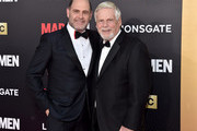 """Series creator Matthew Weiner (L) and actor Robert Morse attend the AMC celebration of the final 7 episodes of """"Mad Men"""" with the Black & Red Ball at the Dorothy Chandler Pavilion on March 25, 2015 in Los Angeles, California."""
