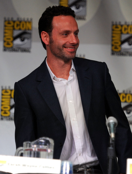 "Actor Andrew Lincoln speaks at AMC's ""The Walking Dead"" Panel during Comic-Con 2011 on July 22, 2011 in San Diego, California."