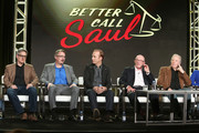(L-R) Co-creators Peter Gould, Vince Gilligan, actors Bob Odenkirk, Jonathan Banks and Michael McKean speak onstage during the AMC presentation of The SON, HUMANS Season 2, Better Call Saul Season 3 on January 14, 2017 in Pasadena, California.