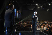 Kevin Spacey (L) looks on as Dick Van Dyke accepts his award at the AMD Studios at 2017 AMD British Academy Britannia Awards at The Beverly Hilton Hotel on October 27, 2017 in Beverly Hills, California.