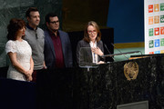 """(L-R) Maya Rudolph, Jason Sudeikis, Josh Gad and Catherine Winder speak on stage during the United Nations Ceremony, Presentation and Photo Call naming Red, from the """"ANGRY BIRDS"""" movie, Honorary Ambassador for the International Day of Happiness, to be observed around the world on March 20th, at United Nations on March 18, 2016 in New York City."""