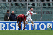 Andrea Lazzari of Bari celebrates after scoring his team's second goal during the Serie B match between AS Livorno and FC Bari at Stadio Armando Picchi on April 9, 2016 in Livorno, Italy.