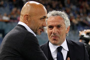 AS Roma head coach Luciano Spalletti and Bologna FC head coach Roberto Donadoni react during the Serie A match between AS Roma and Bologna FC at Stadio Olimpico on April 11, 2016 in Rome, Italy.