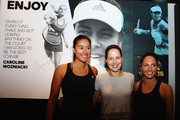 New Zealand netball player Maria Tutaia, Ana Ivanovic and TV presenter Makere Bradnam pose for a photo after taking part in an exhibition tennis match withon January 3, 2016 in Auckland, New Zealand. The ASB Classic starts on Monday 4, 2016.