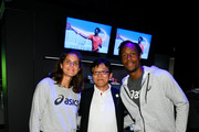 (L-R) Julia Gorges, Koichiro Kodama, and Gael Monfils attend the ASICS Tennis 5th Avenue Flagship Event on August 23, 2019 in New York City.