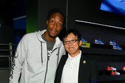 Gael Monfils (L) and Koichiro Kodama attend the ASICS Tennis 5th Avenue Flagship Event on August 23, 2019 in New York City.