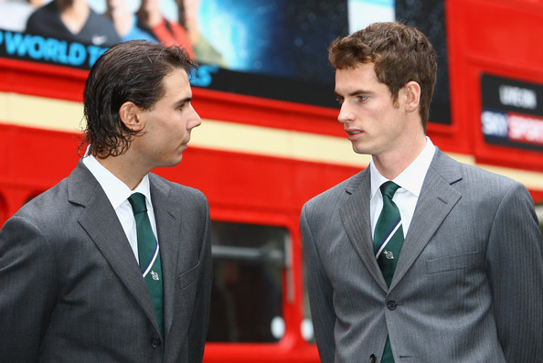 (L-R) Rafael Nadal of Spain and Andy Murray of Great Britain chat in front of a London Bus during the Barclays ATP World Tour Finals - Media Day at the County Hall Marriot Hotel on November 20, 2009 in London, England.