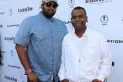 """Musical artists Jamie Jones (L) and Delious Kennedy of All-4-One attend the """"ATTACK ON TITAN"""" World Premiere on July 14, 2015 in Hollywood, California."""