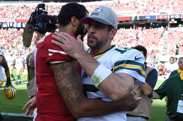 Green Bay Packers v San Francisco 49ers [product,team sport,rugby player,player,fan,sports,stadium,ball game,rugby league,rugby,colin kaepernick,aaron rodgers,santa clara,california,levis stadium,san francisco 49ers,green bay packers,nfl,game]