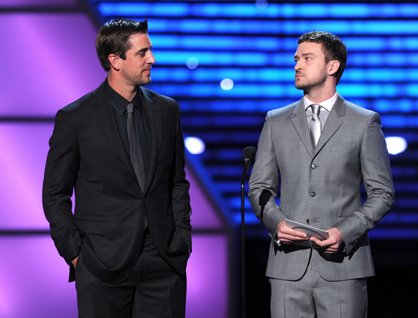 The 2011 ESPY Awards - Show [espy,suit,event,formal wear,white-collar worker,performance,television presenter,gesture,aaron rodgers,justin timberlake,best male college athlete,l-r,california,los angeles,nfl,show,2011 espy awards]