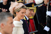 Prince Philippe of Belgium and Princess Mathilde of Belgium are seen in front of the Cathedral of St Michael and Saint Gudula prior to the Abdication Of King Albert II Of Belgium, & Inauguration Of King Philippe on July 21, 2013 in Brussels, Belgium.