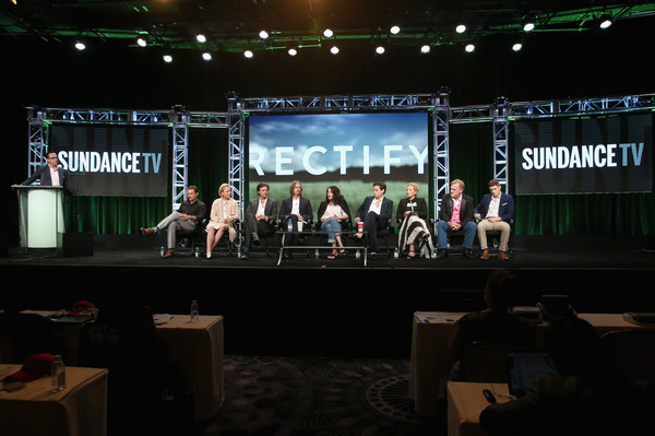 SundanceTV TCA Panel for 'Rectify' [clayne crawford,ray mckinnon,president,general manager,actors,writer,charlie collier,l-r,stage,projection screen,event,performance,technology,stage equipment,electronic device,convention,auditorium,talent show,sundancetv tca panel for ``rectify,executive producer]