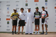 (L-R)  Mohammed Yousef, Roberto Ferrari, His excellency Doctor MugheerAl Khai, Mark Cavendish and Yousif Mirza with thier trophies after the Abu Dhabi - Al Ain Classic on December 3, 2017 in Abu Dhabi, Unite