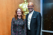 Julianne Moore and Patrick Harrison attend The Academy Of Motion Picture Arts & Sciences 2019 New Members Party on October 01, 2019 in New York City.