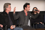 Kurt Russell, Walton Goggins and Stacey Sher attend The Academy Of Motion Picture Arts And Sciences Hosts An Official Academy Screening Of THE HATEFUL EIGHT on December 15, 2015 in New York City.