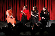 "(L-R) Moderator Esther Zuckerman, actor, director and producer Olivia Wilde and actors Kaitlyn Dever and Beanie Feldstein on stage during The Academy of Motion Picture Arts and Sciences official Academy screening of ""Booksmart"" at the MoMA, Celeste Bartos Theater on May 21, 2019 in New York City."