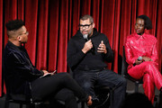 (L-R) Moderator KC Ifeanyi director Jordan Peele and actor Lupita Nyong'o on stage during The Academy of Motion Picture Arts and Sciences official screening of Us at the MoMA Celeste Bartos Theater on March 18, 2019 in New York City.