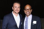 Jason Segel (L) and Patrick Harrison attend The Academy Of Motion Picture Arts And Sciences New Member Reception In New York at Lincoln Ristorante on October 5, 2015 in New York City.