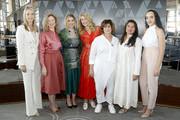 (L-R) Jen Neal, Dawn Hudson, Greta Gerwig, Laura Dern, Amy Pascal,  Sharmeen Obaid-Chinoy, and Eliana Pipes attend the Academy of Motion Picture Arts & Sciences' Women's Initiative New York luncheon, in partnership with E! Entertainment and with the support of Swarovski on October 02, 2019 in New York City.