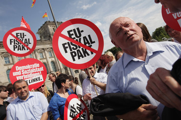 Oskar Lafontaine Activists Protest ESM And Fiscal Pact
