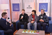 Actors Edwin Thomas, Colin Morgan and director Rupert Everett of 'The Happy Prince' attend the Acura Studio at Sundance Film Festival 2018 on January 21, 2018 in Park City, Utah.