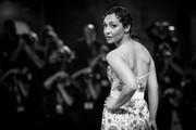 """Image has been converted to black and white.) Ruth Negga walks the red carpet ahead of the """"Ad Astra"""" screening during the 76th Venice Film Festival at Sala Grande on August 29, 2019 in Venice, Italy."""