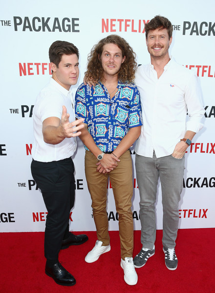 Los Angeles Special Screening And After Party For The Netflix Film 'The Package' [los angeles special screening after party for the netflix film ``the package,premiere,red carpet,event,carpet,flooring,blake anderson,anders holm,adam devine,l-r,los angeles,el cid,california,screening,party]