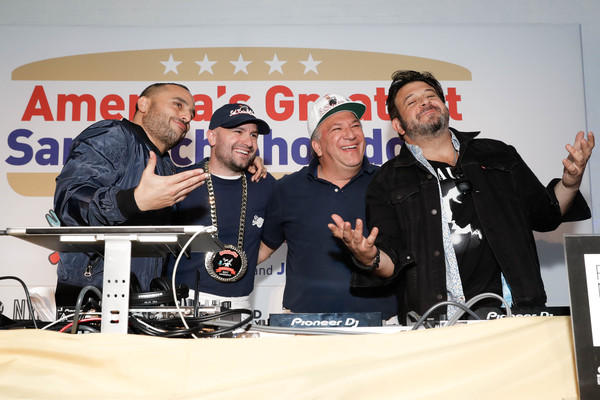 America's Greatest Sandwich Showdown [the bomb,event,news conference,team,performance,stage equipment,founder,ceo,goldbelly,joe ariel,sal,sandwich,l-r,america,greatest sandwich showdown]