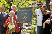 (L-R) Adrian Benepe, Noel Yauch, Frances Yauch, Adam Horovitz, Rachael Horovitz and Marty Markowitz attend the renaming of Palmetto Playground as Adam Yauch Park on May 3, 2013 in the Brooklyn borough of New York City. Beastie Boy Adam Yauch died of salivary gland cancer on Friday, May 4, 2012 at the age of 47.