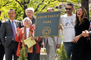 (L-R) Adrian Benepe, Noel Yauch, Frances Yauch, Adam Horovitz and Rachael Horovitz attend the renaming of Palmetto Playground as Adam Yauch Park on May 3, 2013 in the Brooklyn borough of New York City. Beastie Boy Adam Yauch died of salivary gland cancer on Friday, May 4, 2012 at the age of 47.