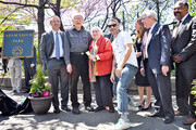 (L-R) Adrian Benepe, Noel Yauch, Frances Yauch, Stephen Levin, Adam Horovitz, Rachael Horovitz, Marty Markowitz and Kevin Jeffrey attend the renaming of Palmetto Playground as Adam Yauch Park on May 3, 2013 in the Brooklyn borough of New York City. Beastie Boy Adam Yauch died of salivary gland cancer on Friday, May 4, 2012 at the age of 47.