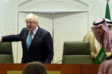 Adel al-Jubeir British Foreign Affairs Minister Boris Johnson Is Seen on an Official Visit to Saudi Arabia