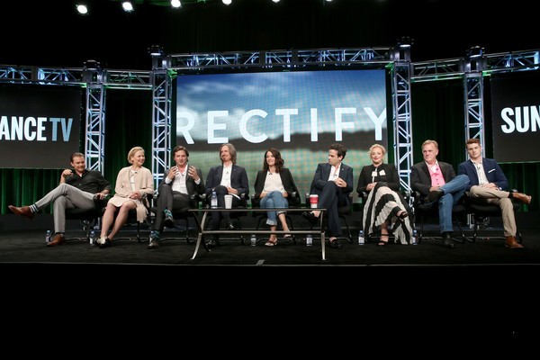 SundanceTV TCA Panel for 'Rectify' [sundancetv tca panel for ``rectify,executive producer,l-r,event,stage,stage equipment,performance,heater,talent show,ray mckinnon,actors,actors,writer,aden young,adelaide clemens,clayne crawford]