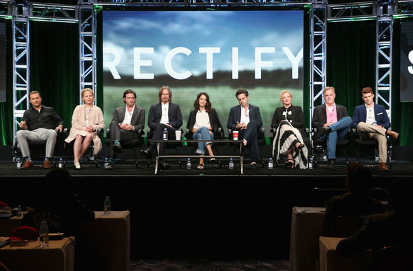 SundanceTV TCA Panel for 'Rectify' [sundancetv tca panel for ``rectify,executive producer,l-r,stage,event,stage equipment,performance,technology,convention,display device,talent show,heater,competition,ray mckinnon,actors,actors,writer,aden young,adelaide clemens,clayne crawford]
