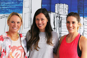 (L-R) Caroline Wozniacki of Denmark, Ana Ivanovic of Serbia and Andrea Petkovic of Germany pose during the adidas ACE Case Launch at Crown Entertainment Complex on January 14, 2016 in Melbourne, Australia.