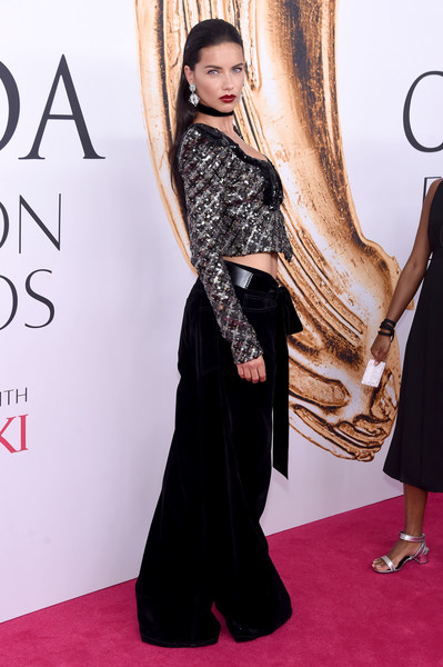 2016 CFDA Fashion Awards - Arrivals [red carpet,clothing,carpet,dress,flooring,fashion,hairstyle,premiere,long hair,shoulder,arrivals,adriana lima,hammerstein ballroom,new york city,cfda fashion awards]