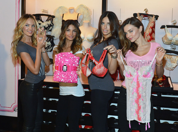 2012 Victoria's Secret Angel Holiday Celebration [pink,event,fashion,dress,party,boutique,fashion design,bachelorette party,angels,adriana lima,miranda kerr,candice swanepoel,lily aldridge,l-r,herald square,new york city,victorias secret,angel holiday celebration]