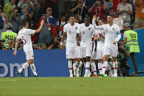 Uruguay v Portugal: Round of 16 - 2018 FIFA World Cup Russia [player,sports,football player,sport venue,team sport,ball game,soccer player,team,sports equipment,tournament,pepe,teammates,goal,portugal,russia,uruguay,fisht stadium,team,round,2018 fifa world cup]