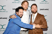 (L-R) Ahmed Bharoocha, Jimmi Simpson, and Daniel Stessen attends Adult Swim's DREAM CORP LLC Season 2 Premiere at Ace Hotel on October 17, 2018 in Los Angeles, California.